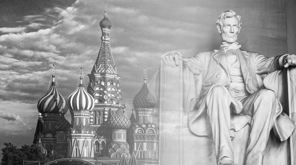The Kremlin and a statue of Abraham Lincoln