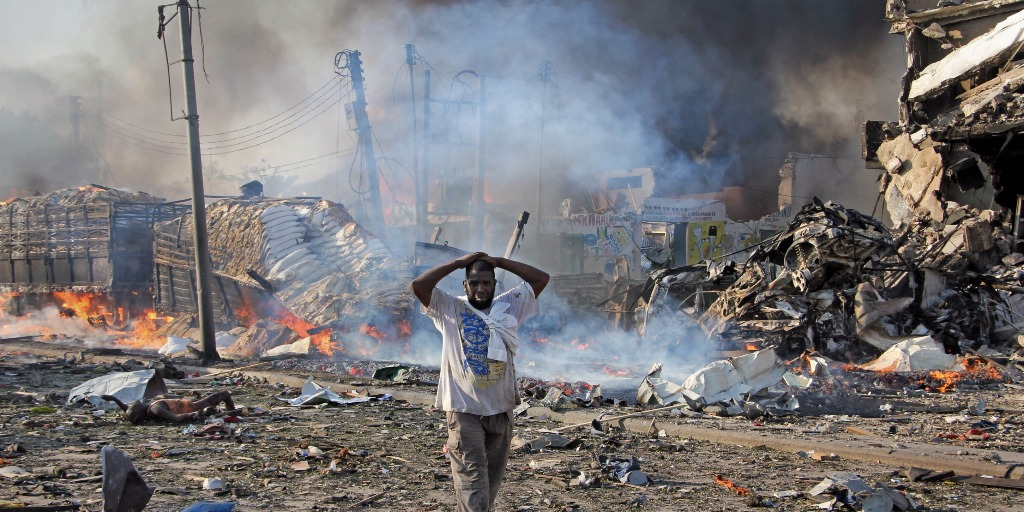 Rubble from the explosion in Mogadishu