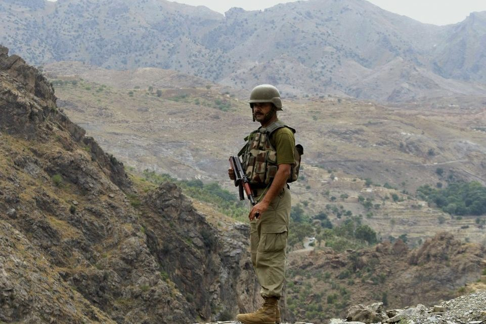 A Pakistani army soldier in the tribal area of Khyber.