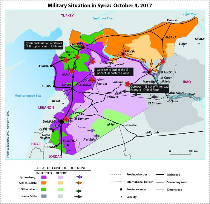 Map of the military situation in Syria as of October 4, 2017
