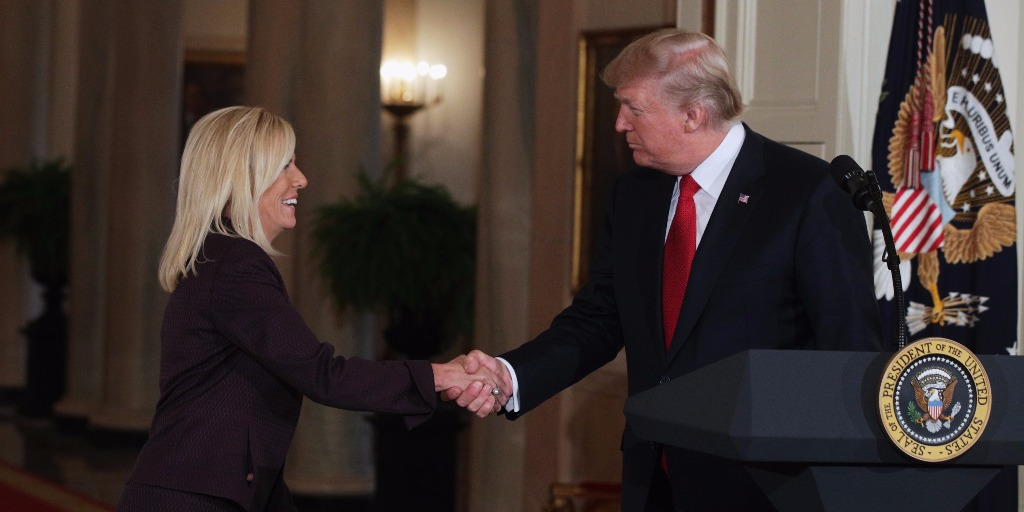 President Trump introduces Kirstjen Nielsen as DHS nominee.