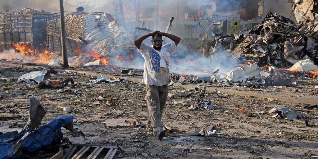 Ruins in Mogadishu after a truck bombing.