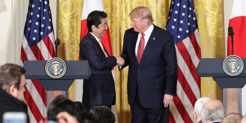 President Trump and Prime MInister Abe in Japan