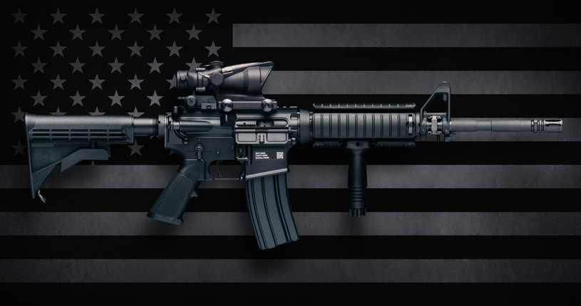 M4A1 Carbine Over USA Flag