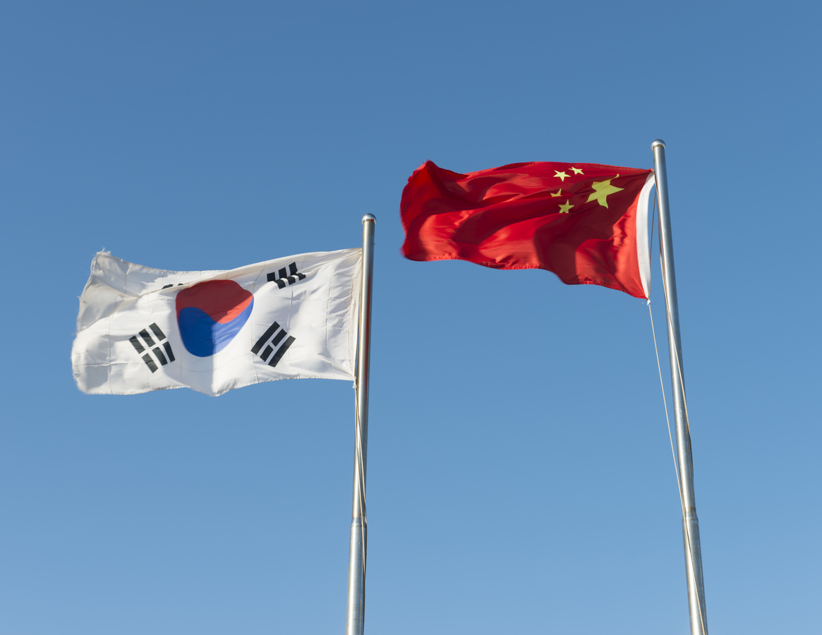 China and South Korea flag