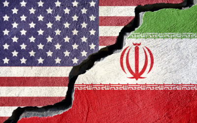 Concept american and Iran flag on cracked background